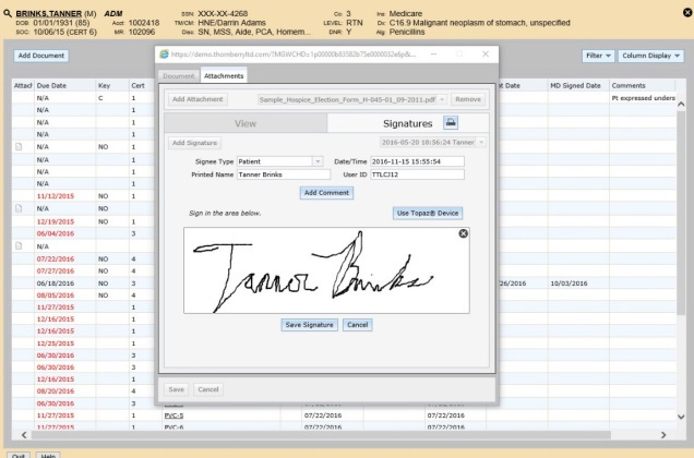 NDoc home health software screenshot showcasing a customers signature