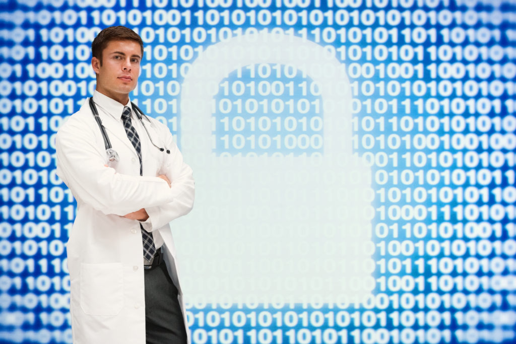 Doctor standing with arms crossed in front of padlock and binary code