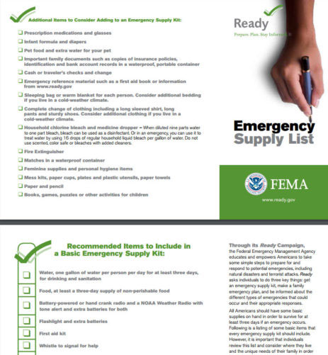 FEMA Emergency Supplies Checklist
